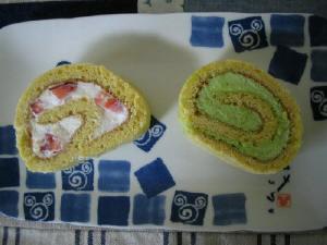 ロールケーキ☆いちご&抹茶